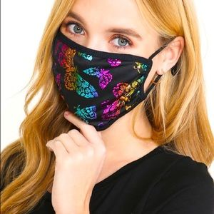 2-Layer Black Holographic Butterfly USA Face Mask